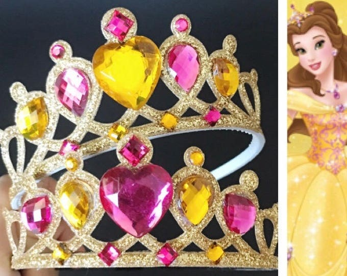 Belle Crown,Belle Elastic Headband,Beauty and the beast theme,Sleeping Beauty crown,Belle theme,disney princess crown,Pink and Gold Crown