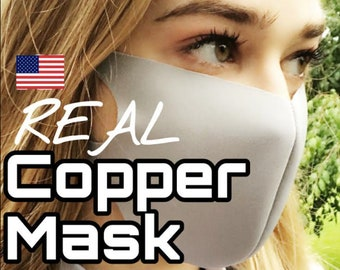 READY TO SHiP Copper Mask Multilayer Black Adult Face Mask Washable Reusable Protective Made In USA Mouth Mask Real Copper infused Mask soft