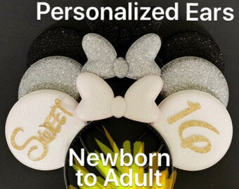 White,Silver,Black Minnie Ear,Customized,Personalized Mickey Ear,Birthday Ear,Minnie Elastic Headband,headband with name,monogram,Disney ear