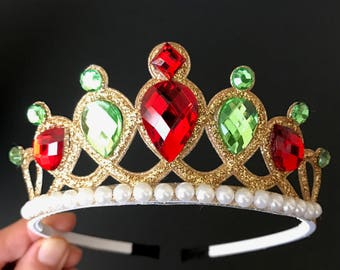 Christmas Crown,Christmas headband,Kids Baby Christmas Photo Prop,Christmas Party,Christmas Elastic headband,gift for grand daughter,green