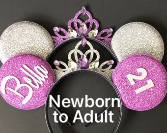 Sofia Minnie Ears,Purple Minnie ears,Personalized Ears,Mickey Headband,Mouse Headband,monogram Ears,Minnie ears,party favor,disney headband
