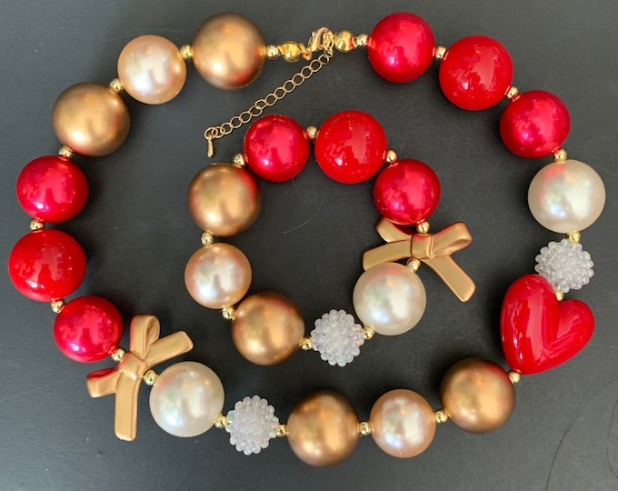 Red and Gold Chunky Necklace,Queen of Hearts Necklace,Red Baby Necklace,Bubblegum necklace,Heart Queen Accessories,Halloween Necklace,outfit
