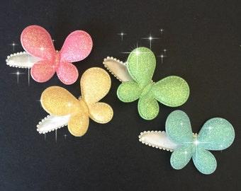 Snap Clip Set,Butterfly Snap Clip,Glitter Hair Clip,hair clip set,butterfly,glitter butterfly,gold butterfly,pink butterfly,blue butterfly