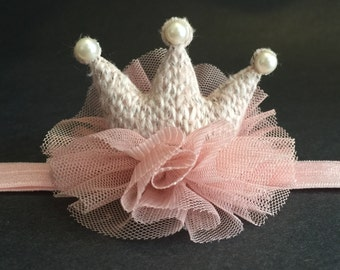 Crown Headband,,Knitted Crown,BabyHeadband,Baby Crown Headband,baby shower gift,first birthday party headband,party headband,photo prop