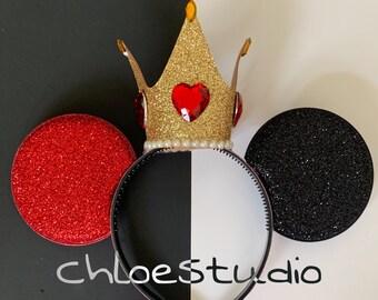 Queen Of Hearts Crown Minnie Ears,Queen Of Hearts Headband,Alice in wonderland Queen Crown,Red Queen Costume,Queen of heart,Devil Crown