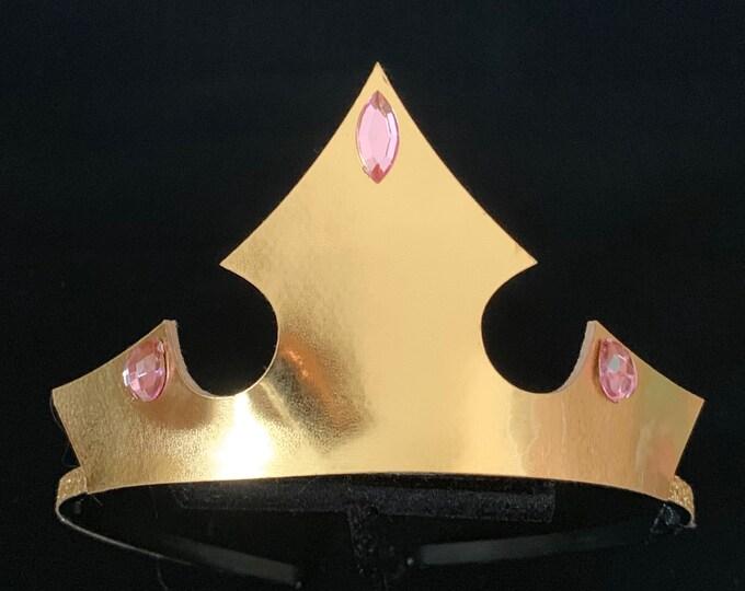 Aurora Crown Set,Aurora Elastic Headband,Sleeping Beauty,Aurora costume,disney princess Aurora accessory,Pink and Gold Crown,Aurora headband
