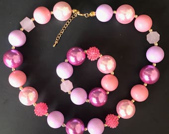 Baby Chunky Necklace,Bubble Gum Necklace,Purple and Pink Necklace,Photo Prop,children necklace,First Birthday,Cake smash,One Year Birthday