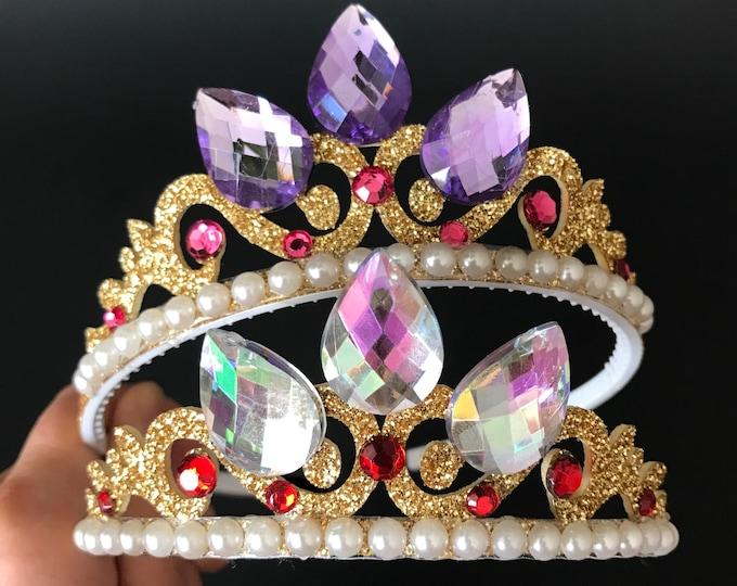 Rapunzel Crown,Rapunzel Elastic Headband,Tangled Headband,Tangled theme,Disney Rapunzel outfit,Princess Crown,birthday crown,crown headband,