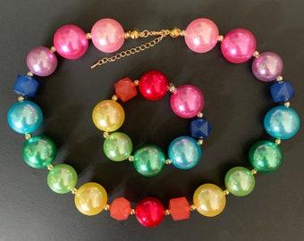 Rainbow Chunky Necklace,Unicorn Necklace,Bubblegum necklace,Birthday necklace,Kids Necklace,Infant Necklace,photo prop,first birthday,pony