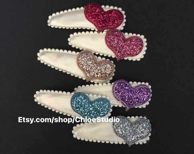 Snap Clip Set,Glitter heart Hair Clip,Little Girls Hair Clip,Girl hair accessories,Girl Hair Accessory,hair snap clip,glitter hair clip