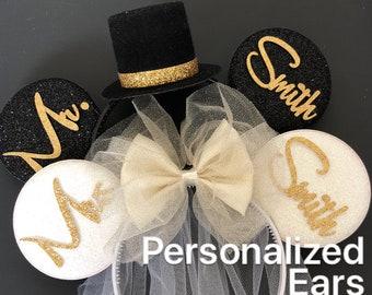 Ivory Bride Minnie Ear,BRIDE & GROOM Mouse Ear,Anniversary ear,Wedding Minnie ears,Personalized Minnie ears,Mickey Ears Headband,custom ears