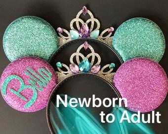 Ariel Minnie Ear,Birthday Minnie Ear,First Birthday,one year birthday,1 year,1st,Ariel Minnie Headband,Mermaid minnie Ears,Disney,Adult,Kids