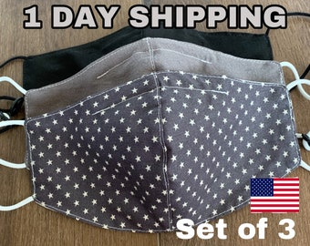 Mask With Filter Pocket Multilayer Green Made In USA Adult Washable Handmade Polypropylene filter Black Gray Star American flag Set Pack