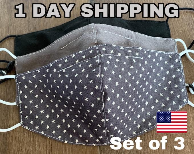 Featured listing image: Mask With Filter Pocket Multilayer Green Made In USA Adult Washable Handmade Polypropylene filter Black Gray Star American flag Set Pack