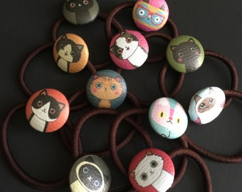 SALE!,Hair Ties,Botton Hair Ties,elastic hair ties,baby hair ties,Cat Hair ties,Kawaii Elastic Hair Ties,cat elastic hair ties,ponytail ties