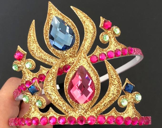 Frozen Anna Crown,Anna Elastic Headband,Elsa Crown,Frozen theme,Elsa theme,Princess Crown,disney princess crown,ANNA OUTFIT,Anna blue dress