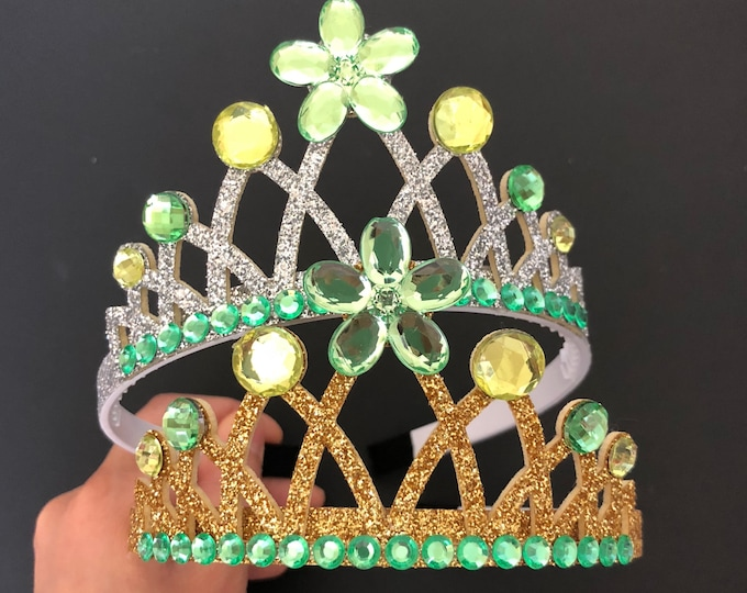 Tinker Bell Crown,Tiana Crown,Tinker Bell Elastic headband,tinker bell costume,Tiana Elastic headband,Princess and frog crown,frog princess