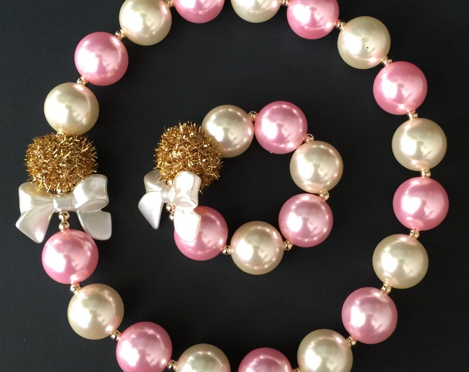 SALE,Pink and Gold Chunky Necklace,Pink and Gold Baby Necklace,Pink and Gold Necklace,Pink and Gold Bubblegum necklace,Kids Chunky Necklace