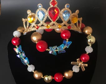 Snow White Crown,Snow white Necklace,Red and Gold Bubblegum necklace,Red and Blue Chunky necklace,Red and Gold Chunky Necklace