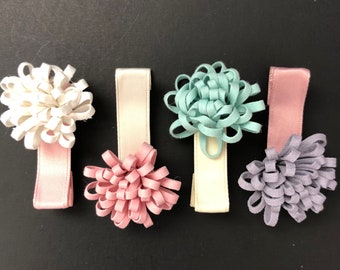 Chrysanthemum Hair Clip,Baby Hair Clip,Toddler Hair Clip,Piggy tail hair clip,Baby hair accessories,Flower Hair Clip,Infant hair clip,pastel