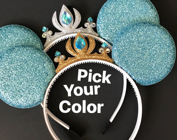 Cinderella Minnie Ears,Cinderella Crown Minnie Ears,Tiara Minnie Ears,Princess Minnie Ears,Princess Ears,Cinderella Minnie Headband,Mickey