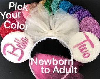 White Bow Minnie Ears,Tulle Bow,Customized Mickey Ear,Personalized Minnie Ear,Minnie Elastic Headband,Minnie Ears Elastic Headband,Mini ears
