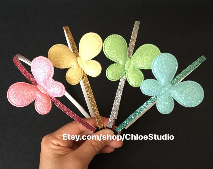 SALE!!,Butterfly Headband,birthday  gift,glitter butterfly,glitter headband,little girl headband,butterfly,pink butterfly,yellow butterfly