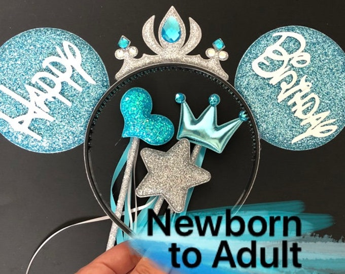 Elsa Minnie Ears,Personalized Minnie Ears,Customized Ears,Elsa Crown Minnie Ears,Tiara Ears,Princess Minnie Ears,Elsa Mickey ears,Elsa wand