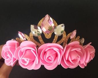 Pink Crown,Disney Aurora crown,Aurora Headband,Aurora Elastic Headband,Sleeping Beauty theme,Sleeping Beauty crown,Aurora theme,baby crown