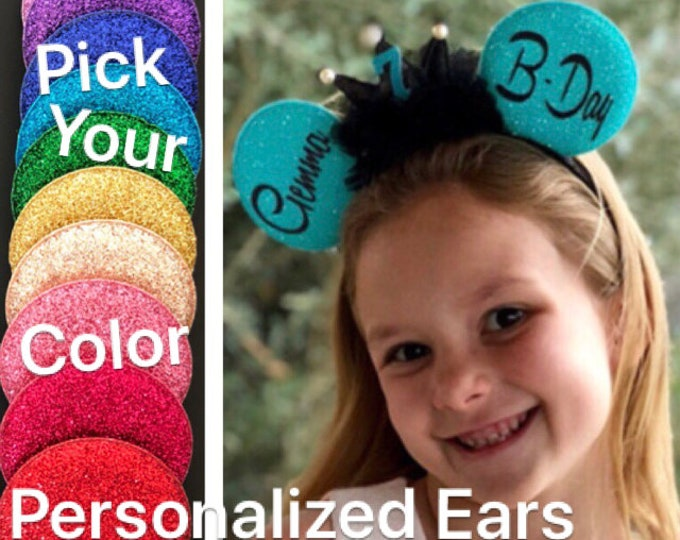 Birthday Minnie Ears,Birthday Mickey Ears,Minnie Birthday Hat,Personalized ears,Disney Ears Headband,Minnie Elastic Headband,Customized ears