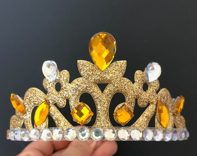 Belle Crown,Belle Tiara,Belle Costume,The Beauty And The Beast Belle Crown,baby crown elastic headband,kids crown,Belle outfit,Gold crown