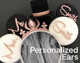 Rose gold BRIDE & GROOM Mouse Ears,Bride Minnie Ears,Wedding Minnie ears,Anniversary ear,Personalized Minnie ear,Mickey Ears Headband,custom