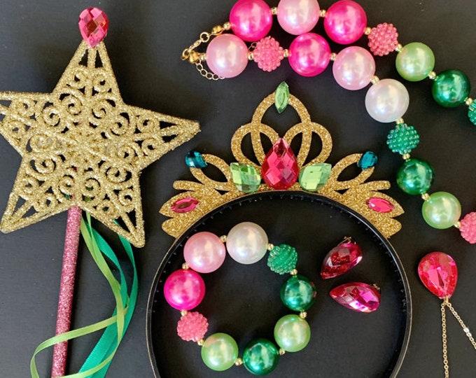 SALE!!!, Anna Crown Set,Anna Necklace Earrings Bracelet Ring,Frozen Anna Costume,disney princess crown,Anna Elastic headband,Birthday outfit
