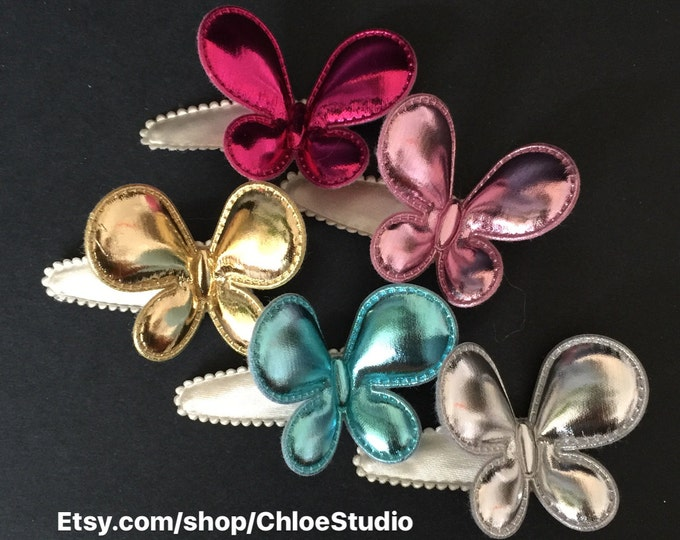 Snap Clip Set,Butterfly Snap Clip,Butterfly Hair Clip,hair clip set,glitter butterfly,gold butterfly,pink butterfly,blue butterfly,Silver
