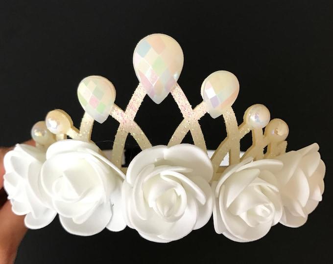 Snow Princess Crown,White Queen headband,White Flower Girl Crown,Snow Princess Headband,snow queen,white princess elastic Headband