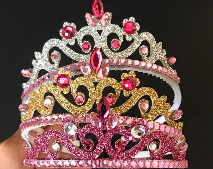 Aurora Crown,Aurora Elastic Headband,Sleeping Beauty Crown,Aurora crown Headband,Disney Aurora,Aurora tiara,Aurora accessory,baby crown