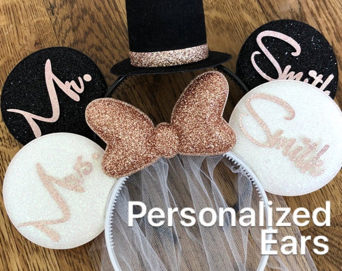 Rose Gold Bride Minnie Ear,BRIDE & GROOM Mouse Ears,Wedding Minnie ears,Anniversary ear,Personalized Minnie ears,Mickey Ears Headband,custom