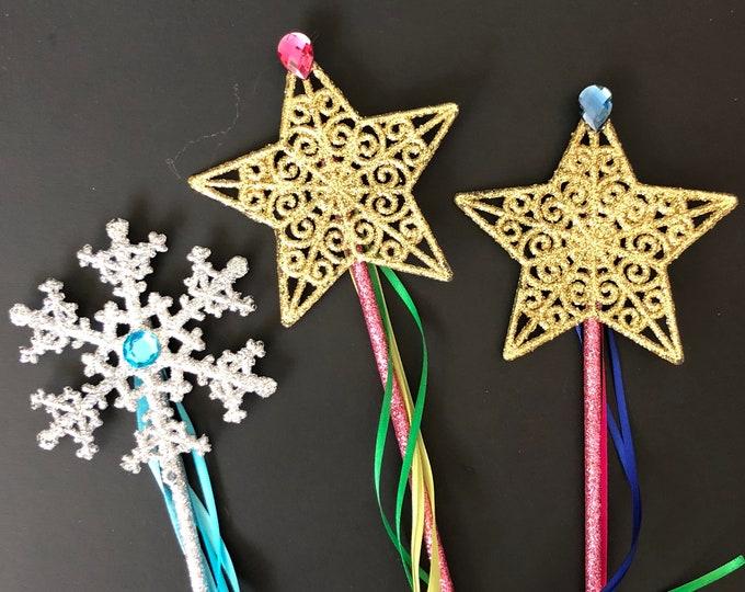 Elsa Wand,Anna Wand,Snowflake wand,Elsa outfit,Silver Glitter Wand,birthday Wand,baby photo prop,Gold star wand,Frozen wand,custom wand