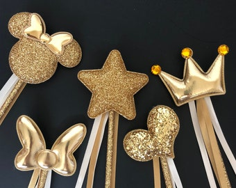 Gold color Wand,Belle Wand,Beauty and the beast outfit,Glitter Wand,birthday Wand,Yellow and gold,Belle outfit,baby photo prop