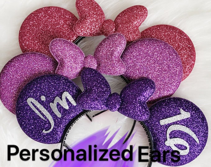 Purple,Lavender,Pink Minnie Ear,Customized,Personalized Mickey Ear,Birthday Ear,Minnie Elastic Headband,headband with name,monogram,gift