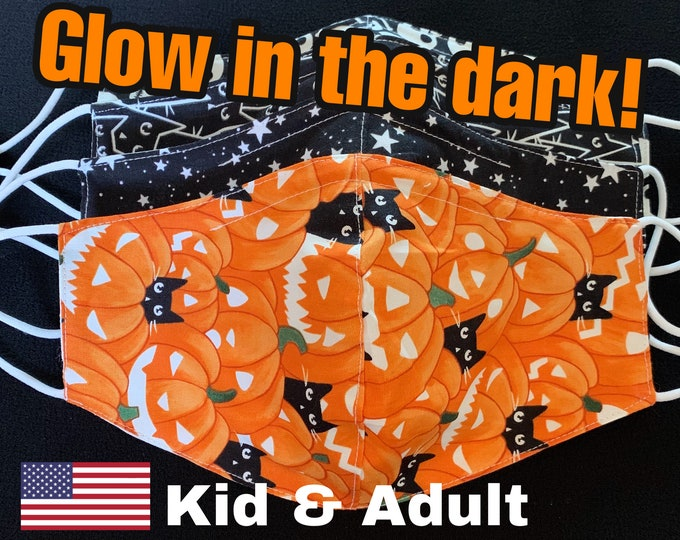 Featured listing image: READY To SHIP,Halloween Face Mask,Glow In The Dark,Mask With Filter Pocket,Polypropylene Filter,Kids,Adult,Teen,Skeleton,Pumpkin,Star,Cat