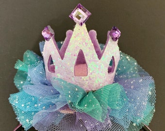 Ariel Birthday Hat,The Little Mermaid crown,Ariel Crown,Mermaid Crown,Mermaid Headband,disney princess crown,mermaid theme,Purple and blue