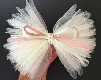 SALE!,Flower Girl Hair bow,,Lace Bow,Chiffon Hair Bow,Chiffon Hair Clip.Flower girl gift,Ruffle hair bow,Tulle Hair Bow,peach color Hair Bow