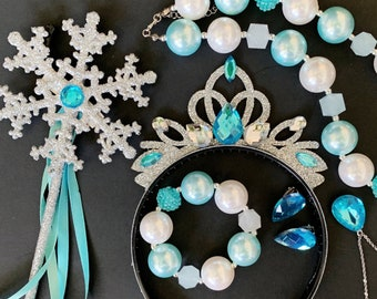 SALE!!!, Elsa Crown Set,Elsa Necklace Earrings Bracelet Ring,Frozen Elsa Costume,disney princess crown,Elsa Elastic headband,Birthday outfit
