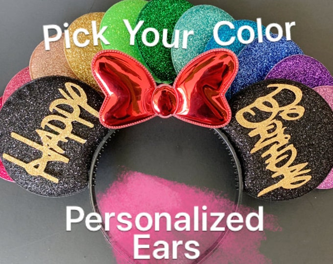 Birthday Minnie Ears,Customized Ear,Personalized Mickey Ear,Minnie Elastic Headband,headband with name,monogrammed,personalized gift,woman