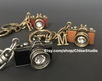 Vintage Camera Keychain,Vintage Camera Keyring,handmade keychain,photographer keychain,photography gift,keychain for man,gift for man,small