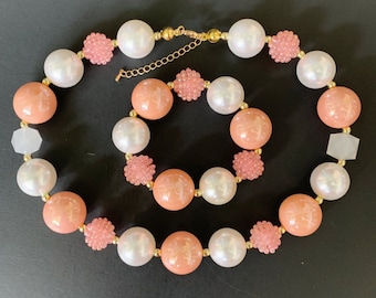 Peach Color Chunky Necklace,Peach and Gold Bubblegum necklace,Peach and Silver,Pearl,First Birthday Headband,Infant,Kids,Adult,Teen,Orange