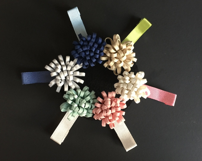 Mini Chrysanthemum Hair Clip,Baby Hair Clip,Toddler Hair Clip,Baby hair accessory,Flower Hair Clip,Infant hair clip,piggy tail hair clip