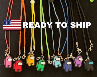 AMONG US Snap Mask Lanyard,mask chain,mask cord,Adult,Teen,Kid,Toddler Mask Holder,Cord,face mask,Back to School,Mask Necklace,Blue, Yellow