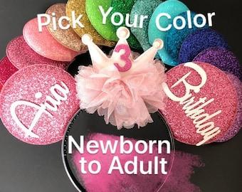 Pink Birthday Minnie Ear,Baby birthday ear,Minnie Mouse Ears Headband,Mickey ears,Rose gold crown,woman minnie ears,custom minnie ears,kids